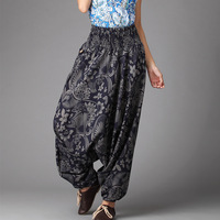 Nepal Style Cross Pants 2016 Spring Autumn Women Pants Floral Cotton Linen Baggy Pants Extra Loose