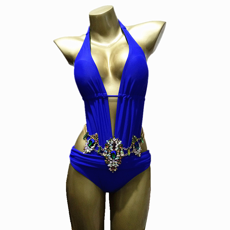 2019 Sexy One-Piece costumes dos nu profond col en v strass maillot de bain diamant luxe maillots de bain femmes cristal body maillot de bain