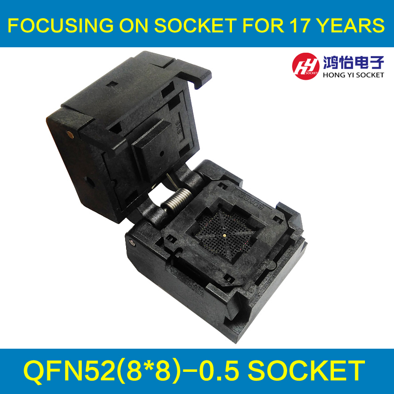 QFN52 MLF52 IC Test Socket Pitch 0.5mm IC550-0524-010-G Burn in Socket Clamshell Chip Size 8*8 Flash Adapter Programming Socket