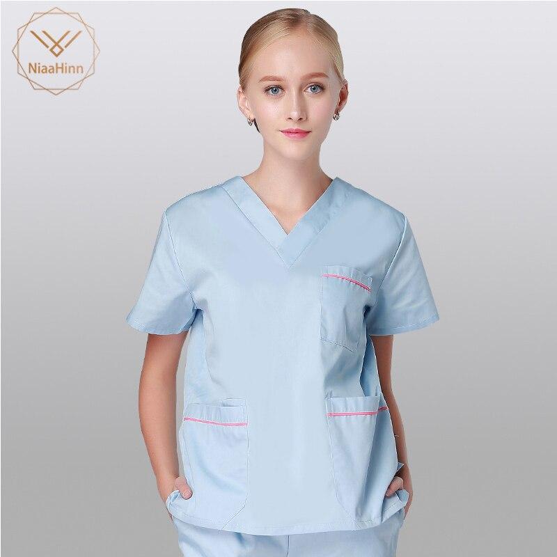 Medical Surgical Cotton Pharmacy Nurse Uniform Scrub Sets High Quality Beauty Salon Sets Spa Uniform Men And Women White Coat