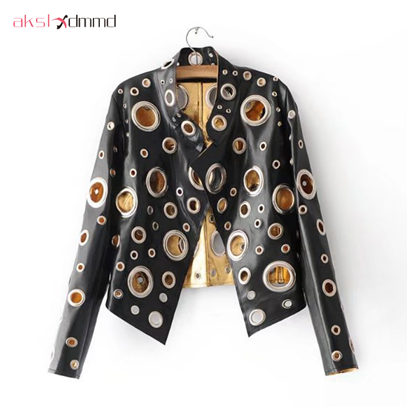 AKSLXDMMD Spring PU Round Hole Women Jacket Gold Silver Color Stand Collar Long Sleeve Coat Leather Clothing Top YR032