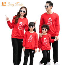 Family Matching Outfits Fashion Love Heart Cotton Autumn Matching Father Son Boys Girls Mother Daughter Clothes Set Family Look family matching clothes summer fashion mother daughter dress father son short sleeve cotton tshirt patchwork striped family look