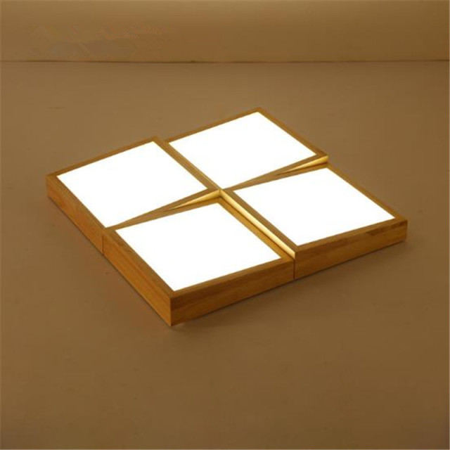 Ceiling Light Japanese: Japanese Style Contracted Geometric LED Solid Wood Living