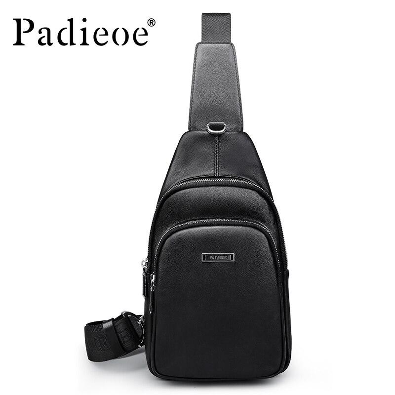 Padieoe Luxury Genuine Leather Men s Chest Bag Deluxe Fashion Business Man Messenger Bag Handbag High
