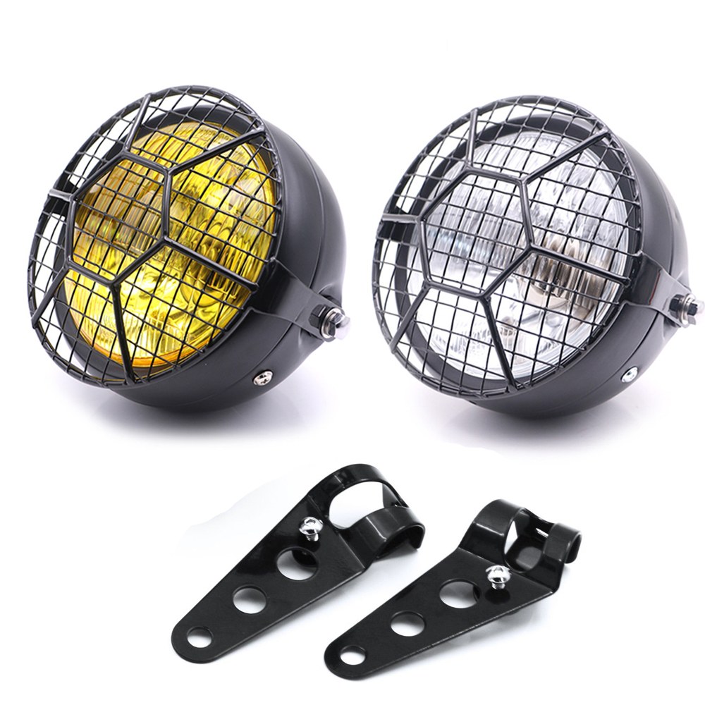 For Harley Cafe Racer Bobber Universal Motorcycle Headlight Lampshade Grill Cover Retro Vintage Bracket Mask Mount Headlight