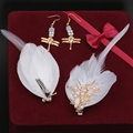 Handmade New Fashion Gold Alloy Feather Bride Pearl Hairpin Hair Accessory Wedding Style Women Hair Jewelry Set