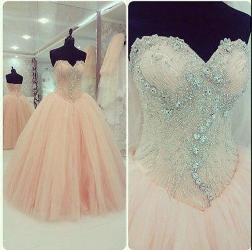 Luxury Crystal Beaded Quinceanera Dresses Pale Pink Sweet 16 Dresses