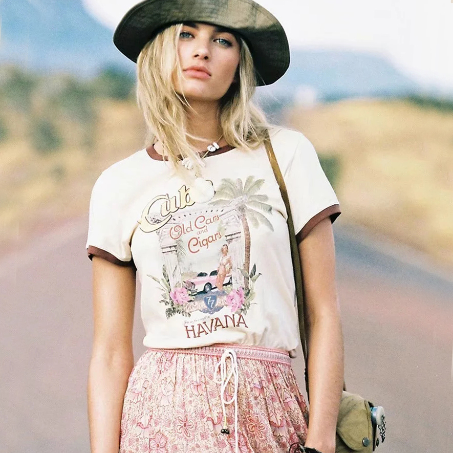 KHALEE YOSE Graphic Vintage T Shirts Women Summer Short Sleeve Cotton Tee Tshirt Tops Hippie Gypsy Chic Casual Shirt Top Femme