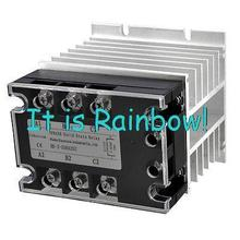 Free Shipping DC AC 25A 5 32VDC 380VAC Three Phase SSR Solid State Relay w Aluminum