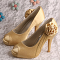 Wedopus Woman High Heel Open Toe Heels Gold Wedding Shoes with Flower Free Shipping Dropship