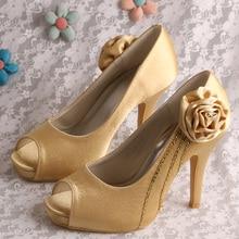 Wedopusผู้หญิงส้นสูงเปิดนิ้วเท้าส้นรองเท้าแต่งงานทองด้วยดอกไม้จัดส่งฟรีDropship