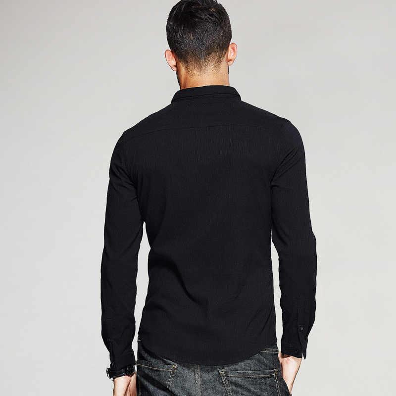 KUEGOU New jesień mężczyzna na co dzień koszule Patchwork czarny kolor marka odzież człowieka z długim rękawem Casual Slim Fit męskie ubrania Plus rozmiar 3148