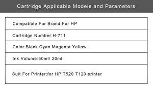 Image 5 - Inka cartouche de rechange Compatible pour imprimante HP 711 XL, rechargeable, réinitialisation de la puce pour Deskjet T520 T120