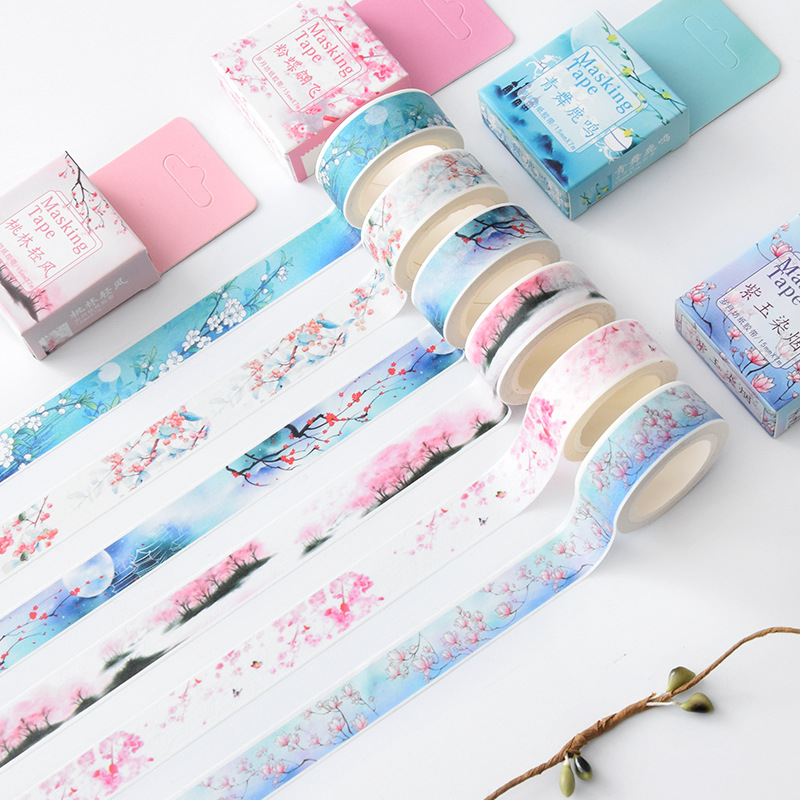 Chinese Vintage Retro Flower Falls And Blow Masking Washi Tape Decorative Adhesive Tape Diy Scrapbooking School Office Supply