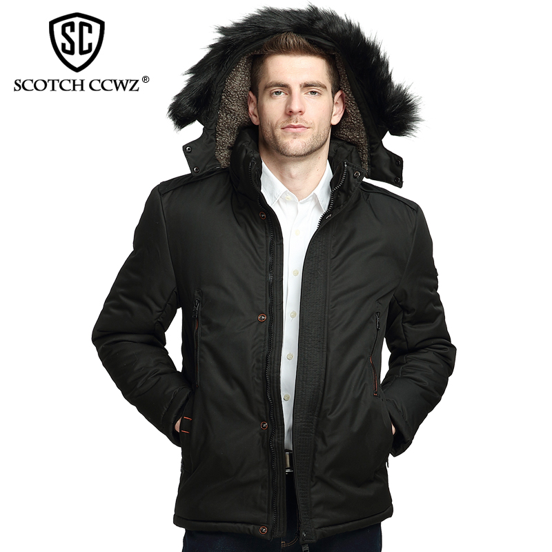 SCOTCH CCWZ Brand Business Thick Winter Jacket Men Parkas Warm Overcoat Outerwear Casual Jackets And Coats For Men Clothing 9907 casual 2016 winter jacket for boys warm jackets coats outerwears thick hooded down cotton jackets for children boy winter parkas