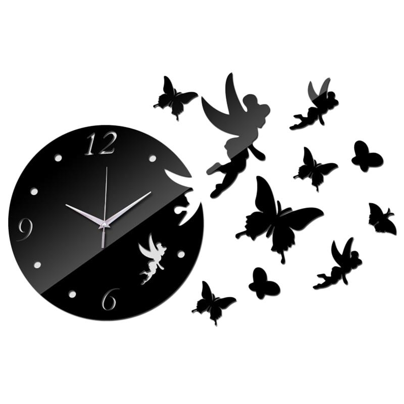 Newest Acrylic Wall Clock Sticker Fashion Butterfly Pattern Creative Clock Sticker Mirror Surface Sticker For Home