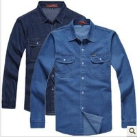 New 2015 Men S Denim Long Sleeve Shirt Male Plus Size Loose Shirts Denim Workwear Men