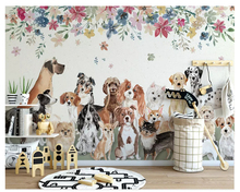 beibehang Nordic fashion character wall paper Creative cute group of puppies floral childrens room background 3d wallpaper