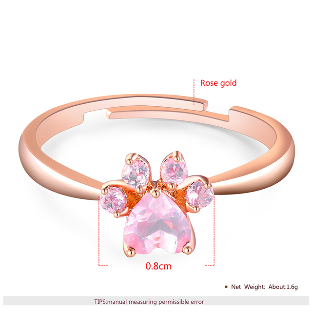 Romad Bear Paw Cat Claw Opening Adjustable Ring Rose Gold Rings for Women Romantic Wedding Pink Crystal CZ Love Gifts Jewelry 3