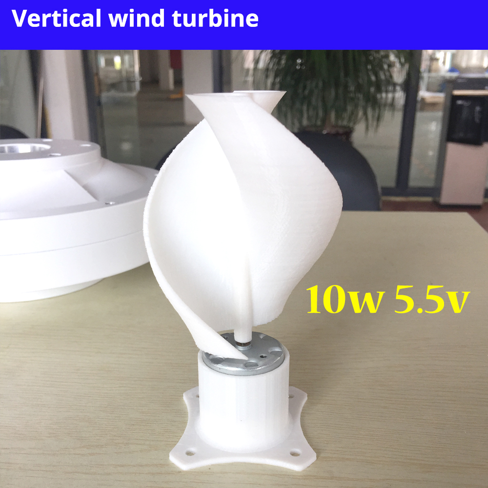 New Micro Motor Small LED lights Vertical Axis Wind Turbine Generator Blades full set DIY wind generator windmill pink color 10