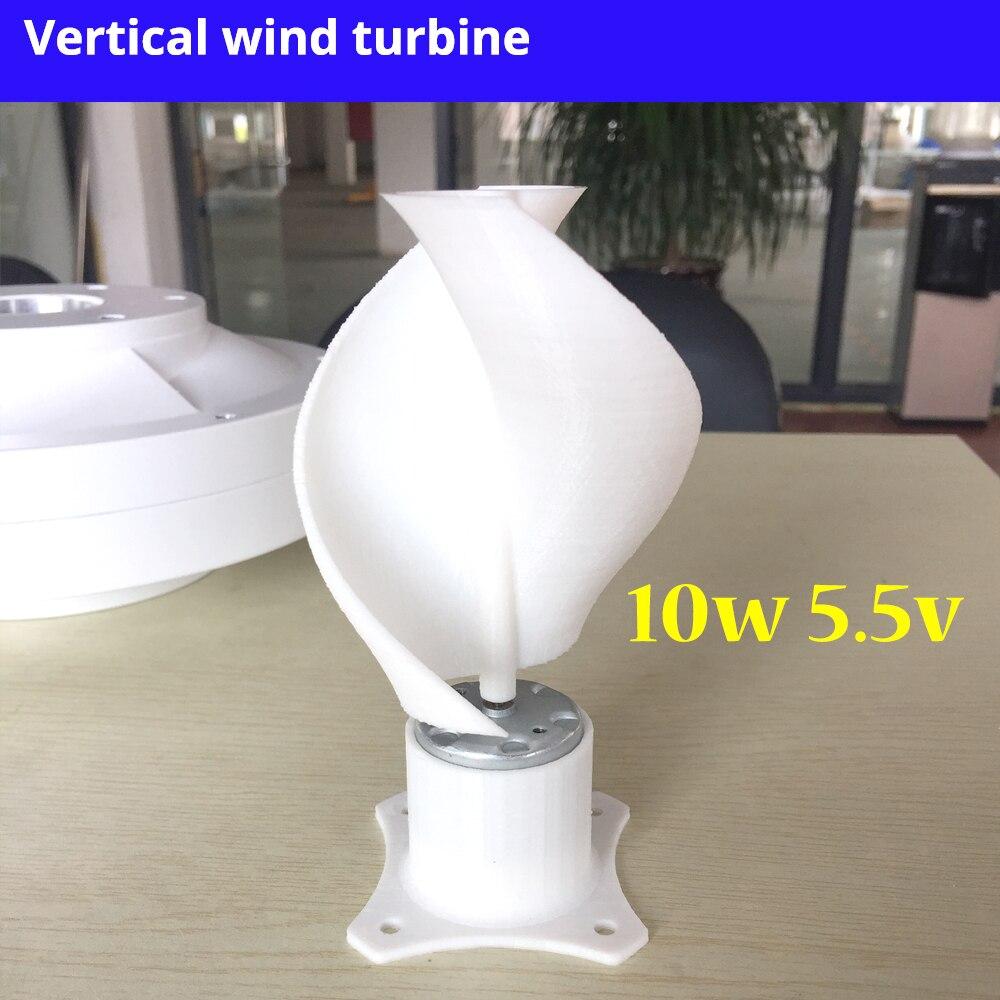 Nouveau Micro moteur petit LED lumières axe Vertical éolienne générateur lames ensemble complet bricolage éolienne moulin rose couleur 10