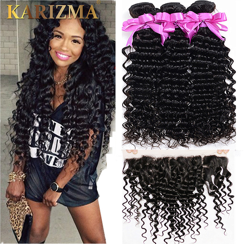 10A Brazilian Virgin Hair With Closure 3/4 Deep Wave Frontal With Bundles 13x4 Deep Curly Brazilian Hair With Closure Frontal