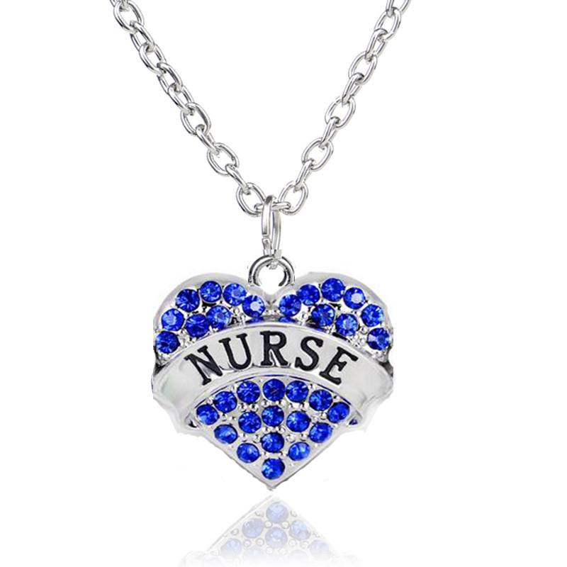 2016 Fashion Lady Rhinestone Crystal Heart Engraved Profession Nurse Pendant Necklace Women Love Peace Jewelry Christmas Gifts