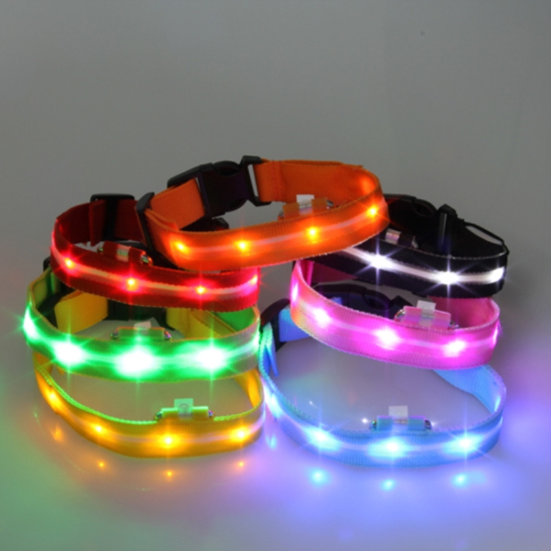 LED Collar Light-up Flashing Glow LED Collars S M L XL Pet Products Puppy Dog Collar Nylon