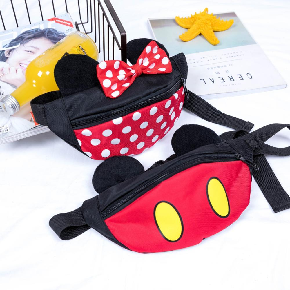 Disney Children Cartoon Waist Packs Mickey Mini Lovely Coin Purse Baby Storage Packet Boys And Girls Handbag Messenger Bag