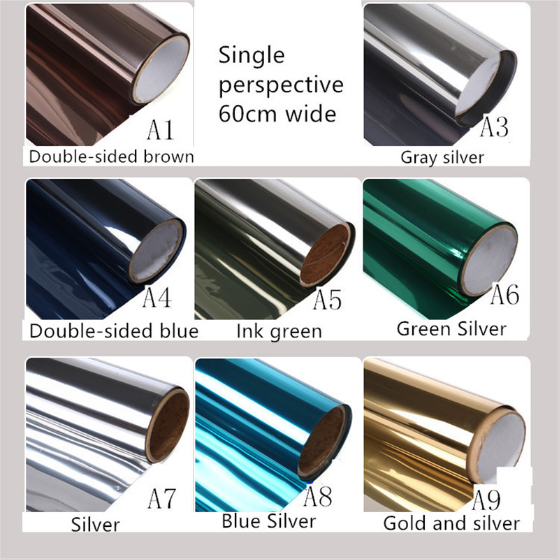 60X100cm custom tint balcony window film heat insulation anti-glare film one-way perspective is prevented bask in paper