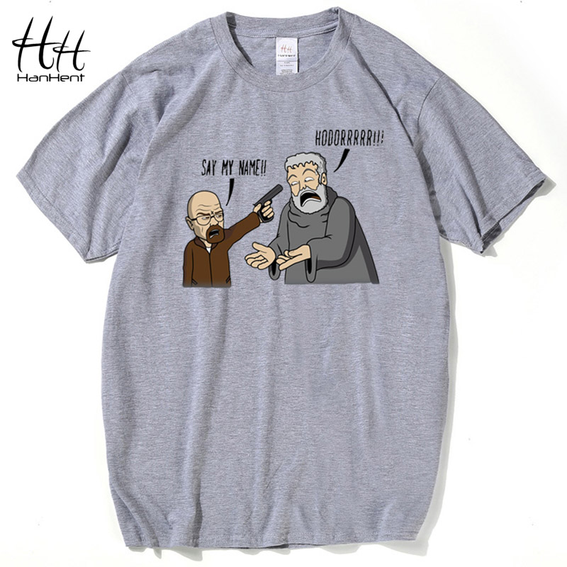 HanHent Breaking Bad Game of Thrones Camiseta Hombre Hodor Heisenberg Camiseta casual Hombre Swag de algodón camiseta homme Tops Camisa divertida