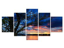 5 Pieces Free Shipping Canvas Painting Sunset Lake Tree seascape Landscape Poster Printing Wall Art decor Picture print Framed(China)