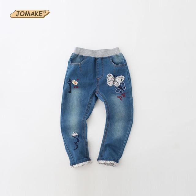 Primavera Outono Roupas Meninas Do Bebê Lavado Bordado Borboleta Dos Desenhos Animados Calças Jeans de Corpo Inteiro Calças Princesa Menina Miúdos Calças de Brim