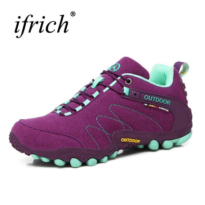 2019 Sepatu Hiking Wanita Sepatu Trekking Musim Gugur / Musim Dingin Outdoor Sepatu Wanita Sepatu Panjat Sepatu Olahraga Kulit Merah / Ungu