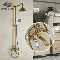 Solid Brass 8 Ceramic Bathroom Shower Faucet Mixer Tap Wall Mounted Antique