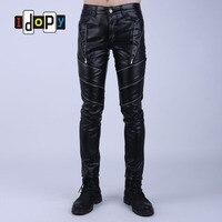Fashion Night Club DJ Swag Skinny Mens Faux Leather PU Tight Black Joggers Biker Pants For