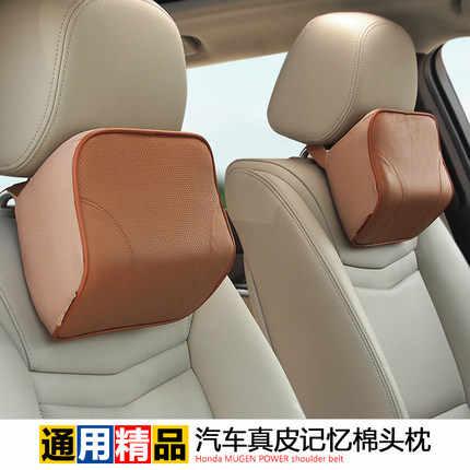 Busa memori mobil-styling asli kulit leher mobil headrest bantal untuk honda bmw audi vw mercedes toyota car styling meliputi