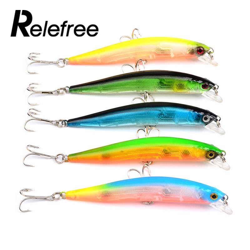 Relefree Kinds of Plastic Sports Fishing Lures Crankbaits Hooks Minnow Baits Tackle ...