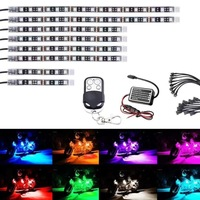 Motorcycle atmosphere light LED atmosphere light strip chassis light colorful RGB remote control wheel hub light belt