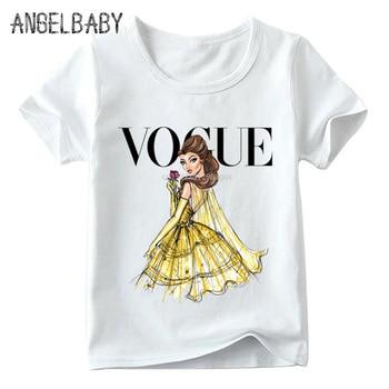 Boys and Girls VOGUE Princess Print T shirt Baby Cartoon White T-shirt Kids Summer Funny Harajuku Casual Clothes,HKP5209 1