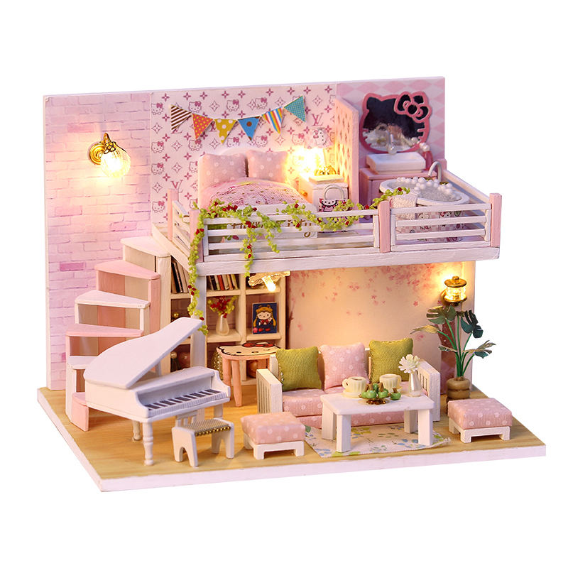 SAKWRA'S DIY Wooden Doll Houses Miniature Dollhouse With Furniture Kit And Led Light Assembly Toys For Children Christmas Gift