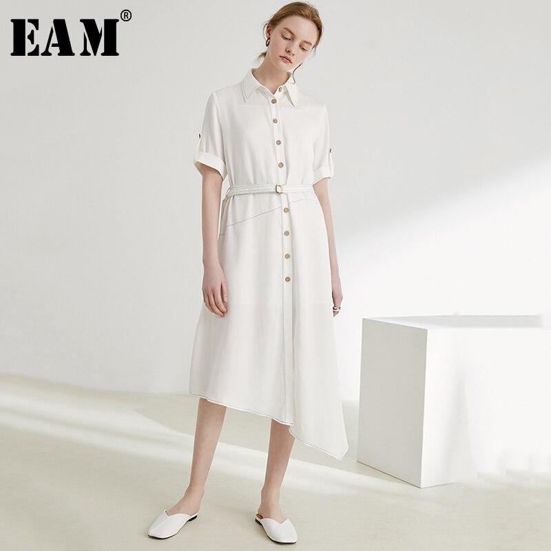 [EAM] 2019 nouveau printemps été revers à manches courtes bouton irrégulière ourlet lâche tempérament robe femmes mode marée JT768