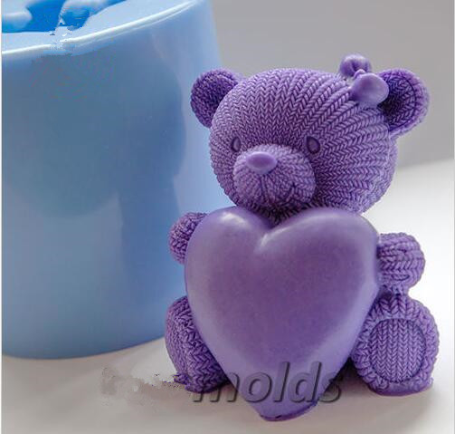 Knitted teddy heart 3D silicone mold for soap and candles making baby...