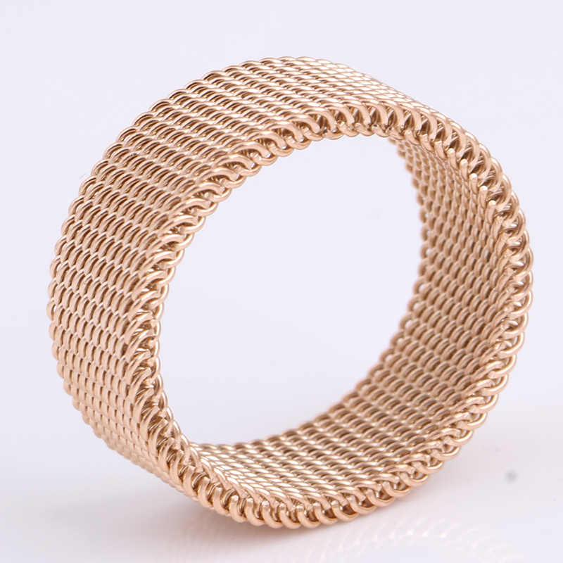 LNRRABC распродажа розовое Золотое кольцо тканые сетчатые кольца для мужчин и женщин ювелирные изделия высокого качества из нержавеющей стали Свадебные Кольца для друзей подарок