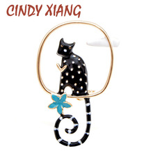 CINDY XIANG New Arrival Playing Cat Brooches for Women 2 Colors Available Cute Carton Animal Pins Kids Jewelry Kitty Brooch 2019