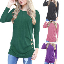 S-2XL women o neck long sleeve t shirt tops lady button spring autumn casual leisure t-shirt criteria quality