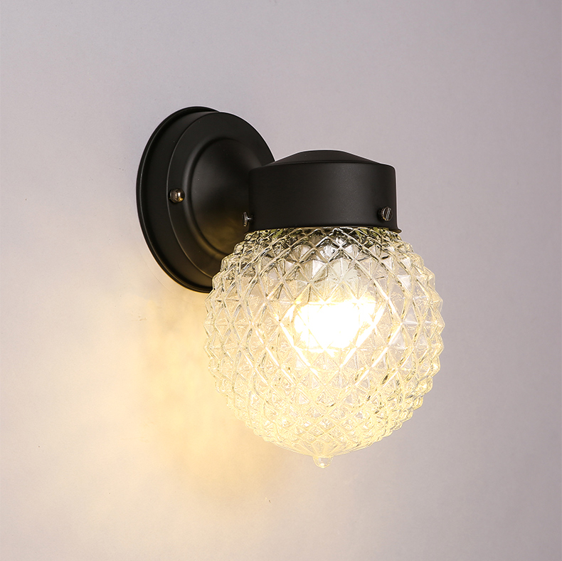 Contracted Glass Ball Wall Lamp Country Style 1 Lamp Led Wall Light Porch Corridor Simple Led Lamp Wrought Iron Wall Lights nordic style retro light creative 1 lamp holder corridor bedside deco sconce wall lights contracted wrought iron wall lamps