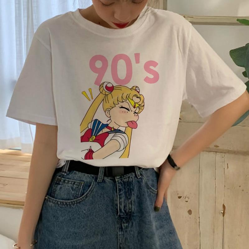 Sailor Moon Harajuku T Shirt Women Ullzang Kawaii Cartoon Aesthetic T-shirt Cute 90s Graphic Tshirt Korean Style Top Tee Female