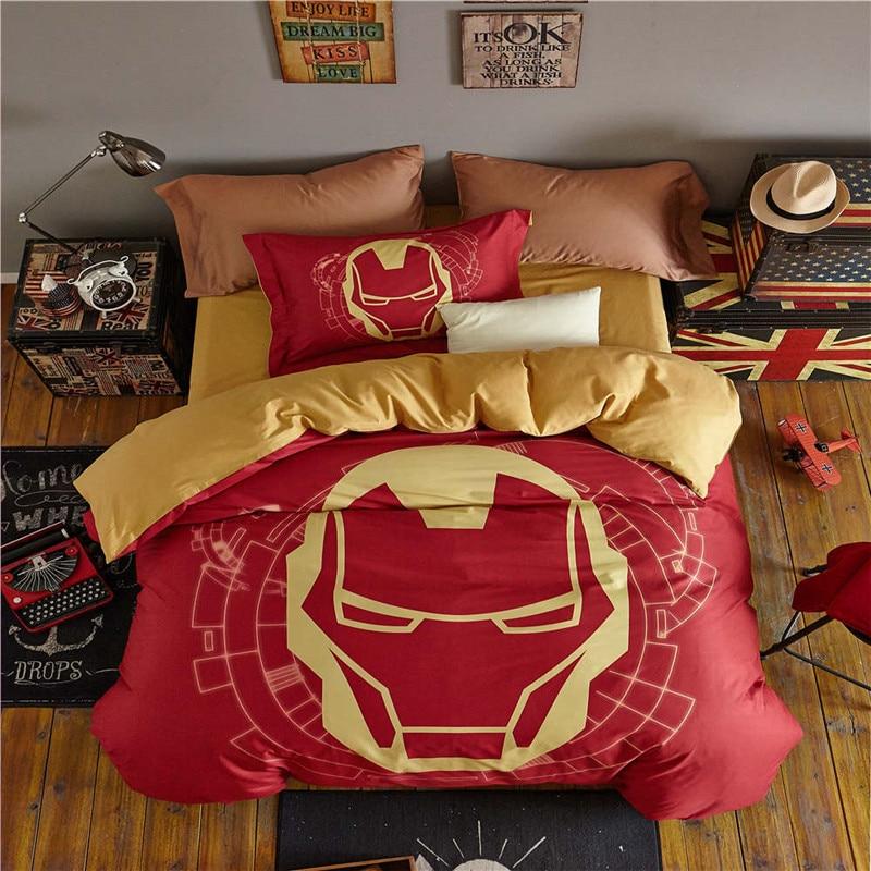 Хлопок disney комплект кровати с принтом Железный человек пододеяльник Твин Полный двуспальные одеяла marvel простыней для маленьких мальчиков