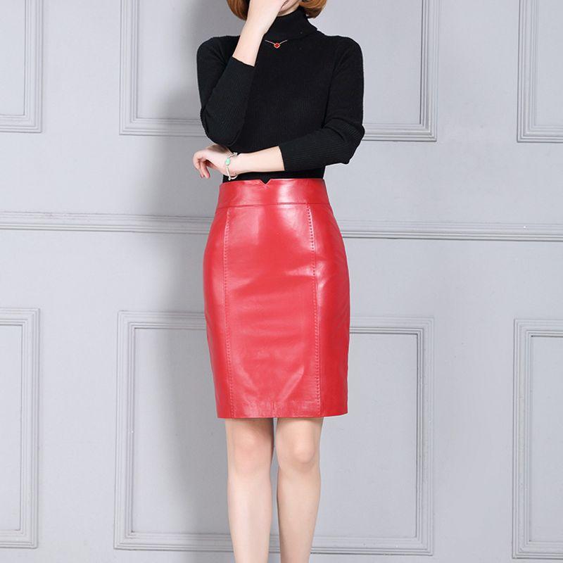 Cuir purple Femmes brown En Nouvelle Mouton De Peau Multi Grande Couleur Jupe Zipper Lady Femelle 2019 Haute Fit Mode Black Slim red Falda Office Taille Véritable p7qSd40O